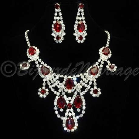 Parure de bijoux de mariage RIVIÈRE, cristal rouge siam, structure ton argent