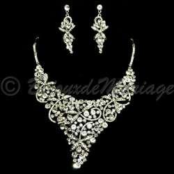 Parure bijoux PRINTEMPS, cristal, structure rhodiée