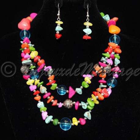 Parure bijoux fêtes SPICA, pierres multicolores, structure ton argent