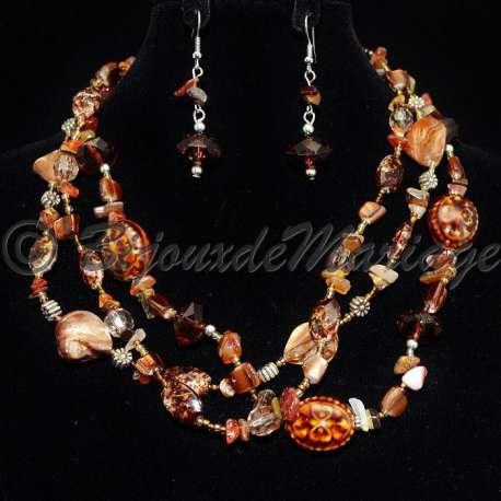 Parure bijoux acubens, pierres coloris brun, structure ton argent