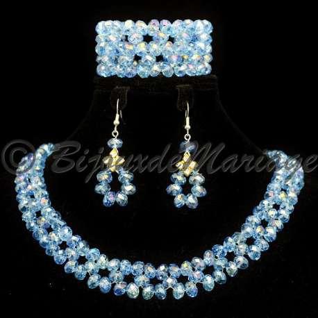Parure bijoux avec bracelet SIRIUS, coloris verre bleu, structure ton argent