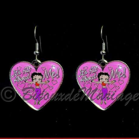"Boucles d'oreilles Betty Boop ""It's all about me !"", structure ton argent"