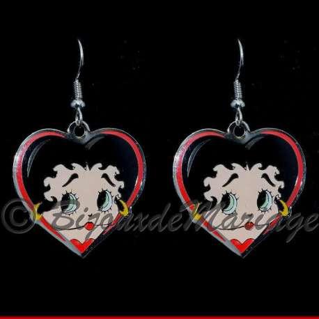Boucles d'oreilles Betty Boop cœur, structure ton argent