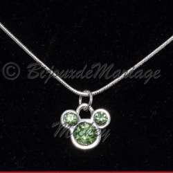 Pendentif Mickey, cristal Péridot vert tendresse, structure ton argent