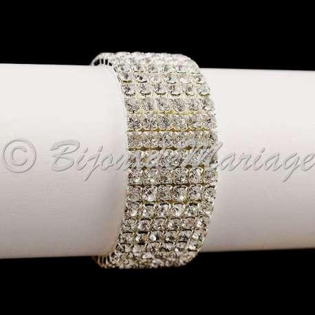 Bracelet mariage 6 rangs, ton argent