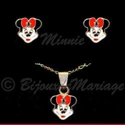 Parure de bijoux enfant, Minnie, colliet et boucles d'oreilles, ton or
