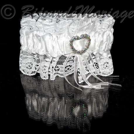Jarretière de mariage, coloris blanc, coeur de strass