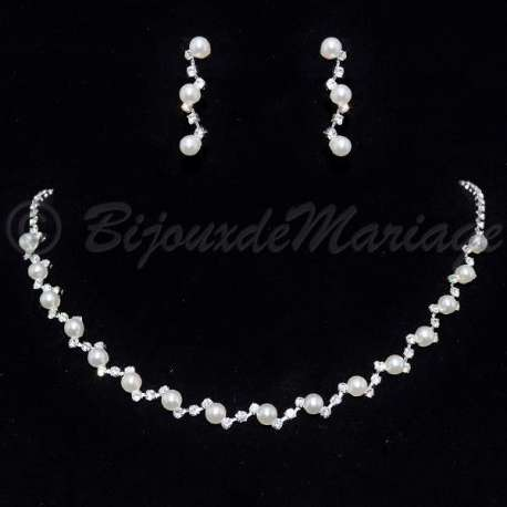 Parure de bijoux mariage Zigzag, perles, ton argent