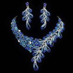 Parure bijoux mariage Chloé, bleue