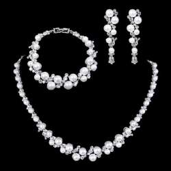 Parure mariage GLORIA, perles, 3 pièces
