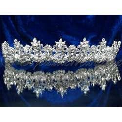 Diademe mariage MA REINE, cristal et perles, structure ton argent