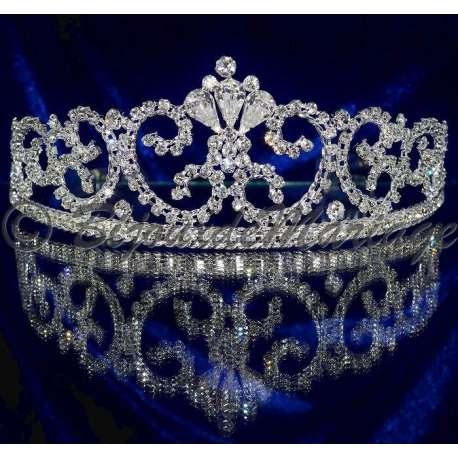 Diademe mariage CAROLINE, cristal, structure ton argent