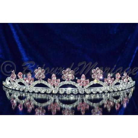 Diademe mariage DARLING, cristal rose, structure ton argent