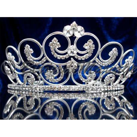 Diademe mariage PROVENCE, cristal, structure ton argent