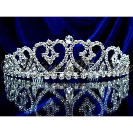 Diademe mariage TRÉSOR, cristal, structure ton argent