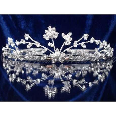 Diademe mariage GRÂCE, cristal, structure ton argent