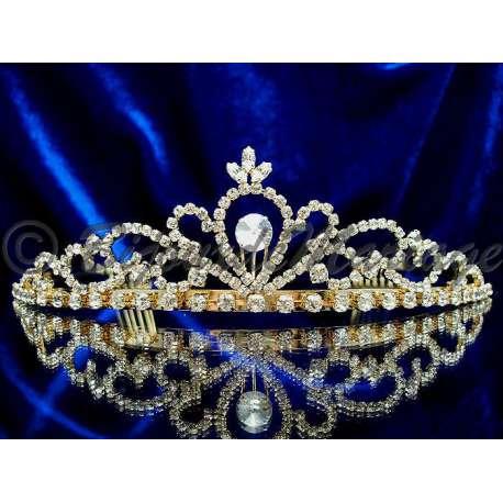 Diademe mariage AUBADE, cristal, structure ton or