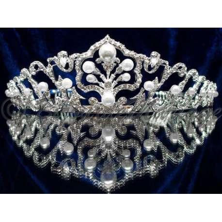 Diademe mariage INFINI, cristal et perles, structure ton argent