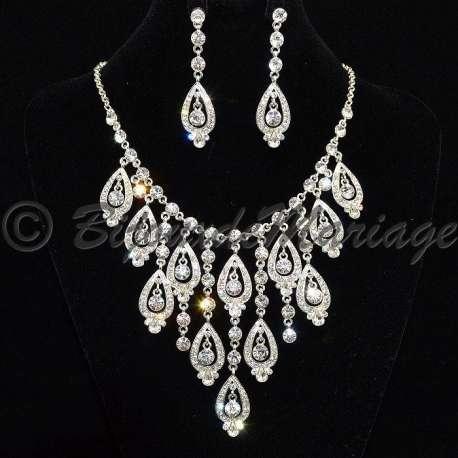 Parure bijoux PROVENCE, pour mariage ou pour Miss, cristal, structure ton argent